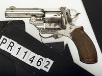 Thumbnail image of Centrefire six-shot revolver - Webley Pryse Pocket type By T.W WATSON, 4 Pall Mall, London. Nickel plated with folding trigger