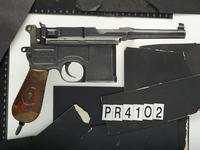 Thumbnail image of Centrefire self-loading pistol - Mauser C96 'Red Nine' Weimar Rework 10-shot German military contract 'Red Nine' Mauser C96 pistol with standard size frame but modified post Treaty of Versailles with shortened Treaty-compliant 'Bolo' length barrel.