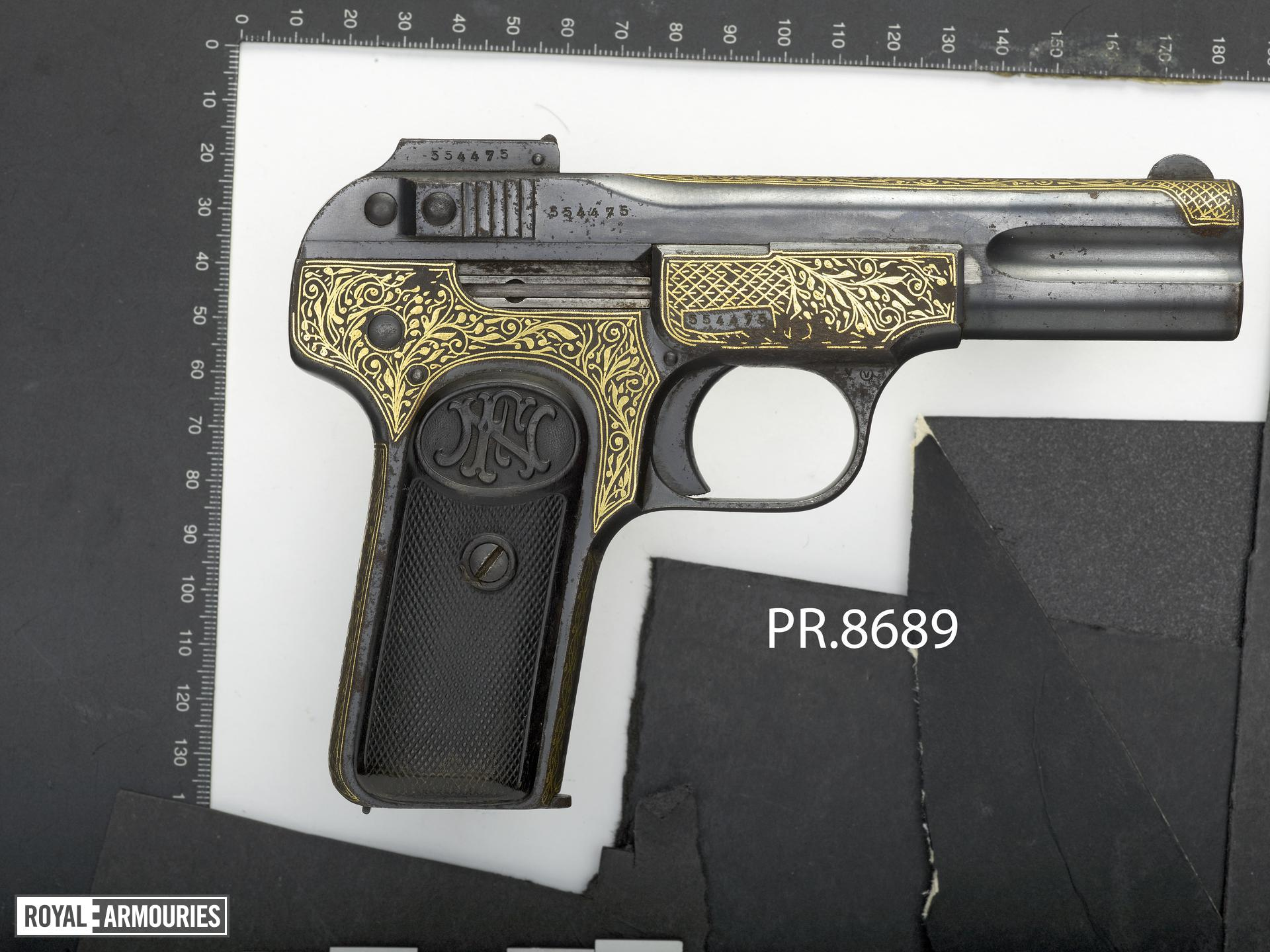 Centrefire self-loading pistol - FN Browning Model 1900 Inlaid in gold