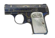 Thumbnail image of Centrefire self-loading pistol - FN Baby Browning Bright blue decorated in the Art Deco style.