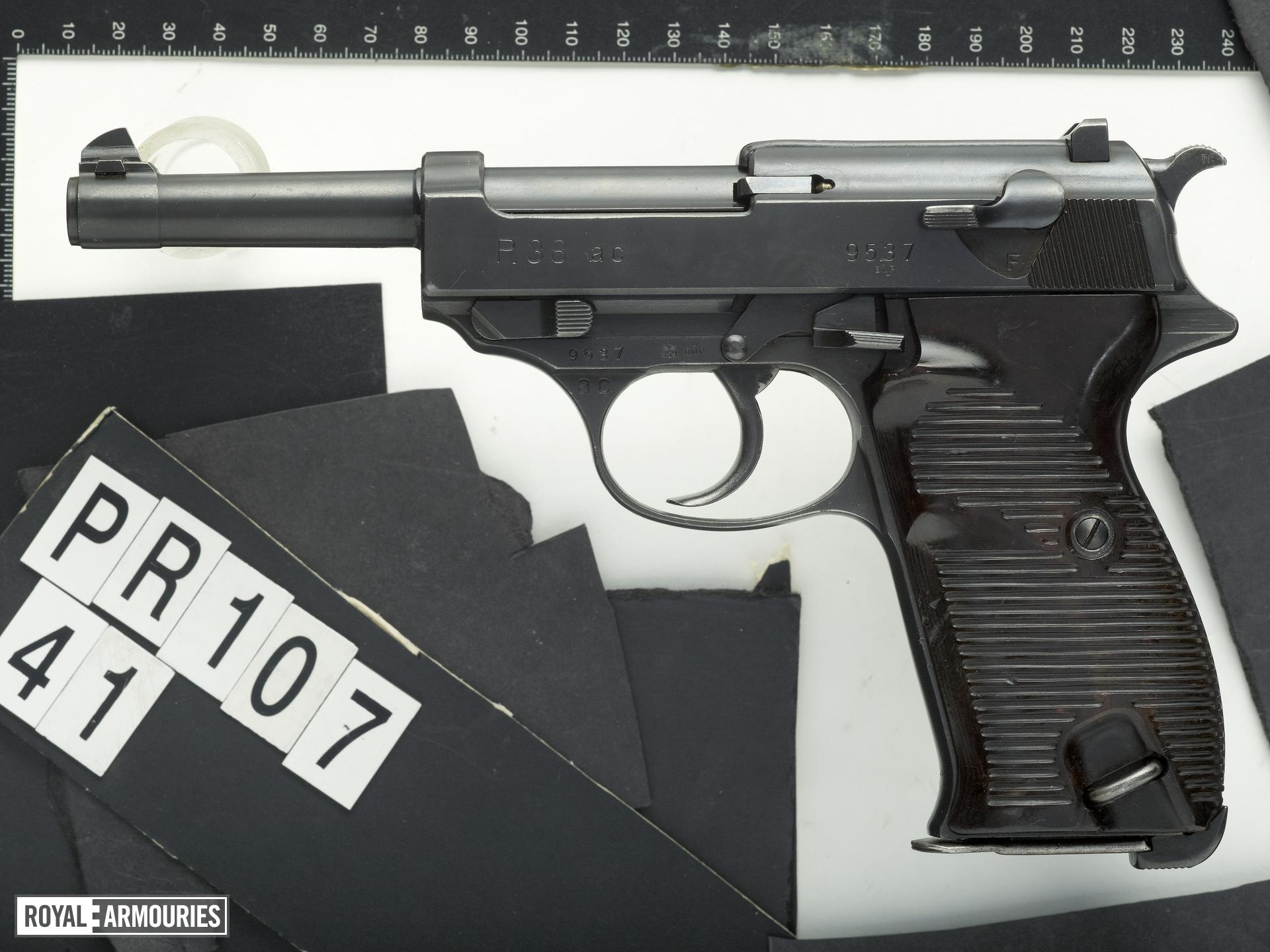 Centrefire self-loading military pistol - Walther Model P.38 Military contract Walther P.38 with the Walther code 'ac'. Only 2550 examples carry this code.