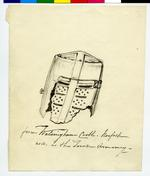 Thumbnail image of Pen and ink drawing Pen and ink drawing of a helmet, mid 19th century. Annotated in ink 'Walsingham'. Further annotated in pencil in the hand of Sir James Mann, '? Zouche CRB'