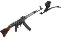 Thumbnail image of Centrefire automatic rifle - StG44 With Krummlauf Vorsatz J curved barrel attachment for infantry use.