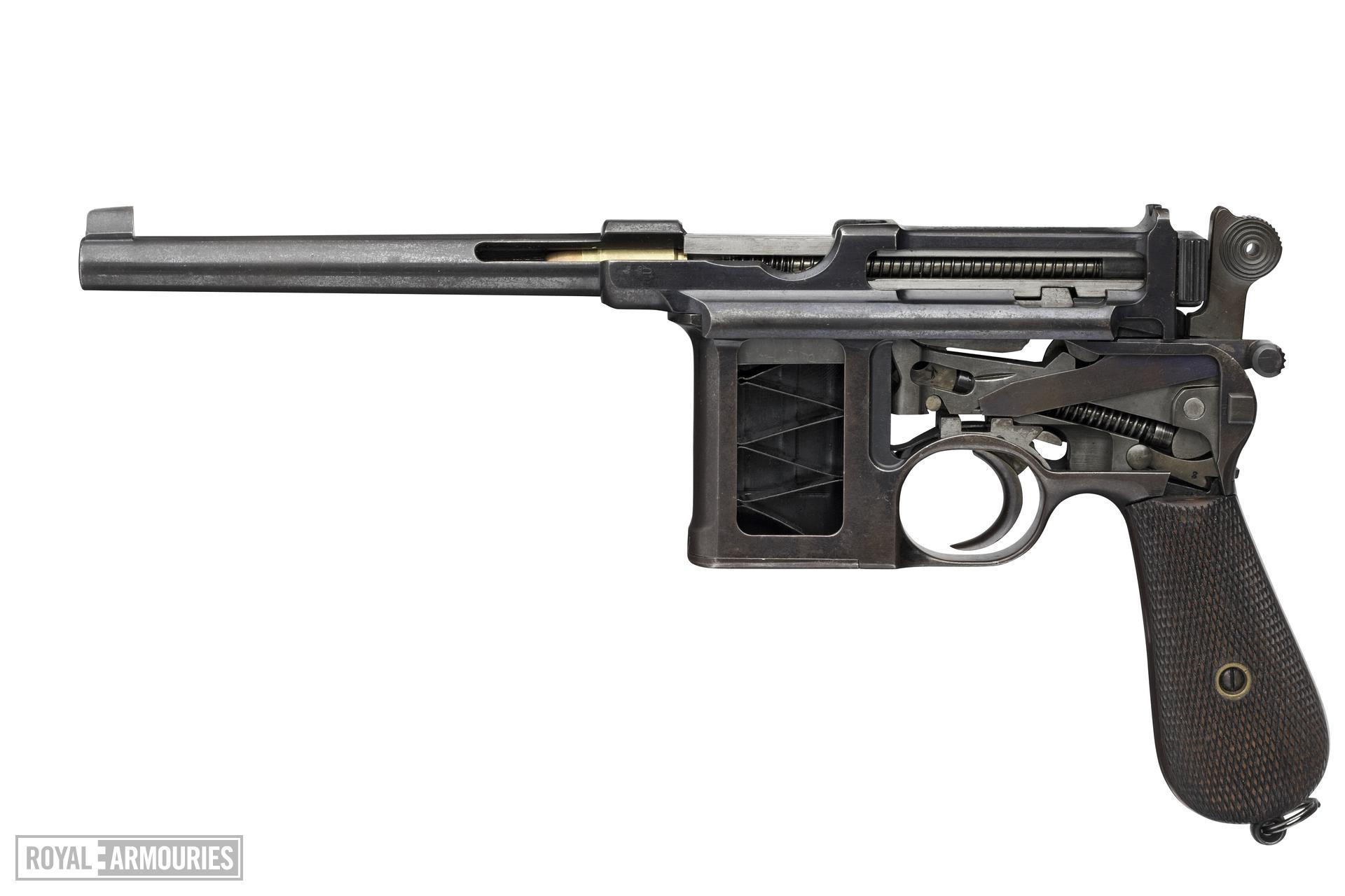 Centrefire self-loading pistol - Mauser C96 sectioned Centrefire self-loading pistol, Mauser C96 sectioned, Germany, 1896.
