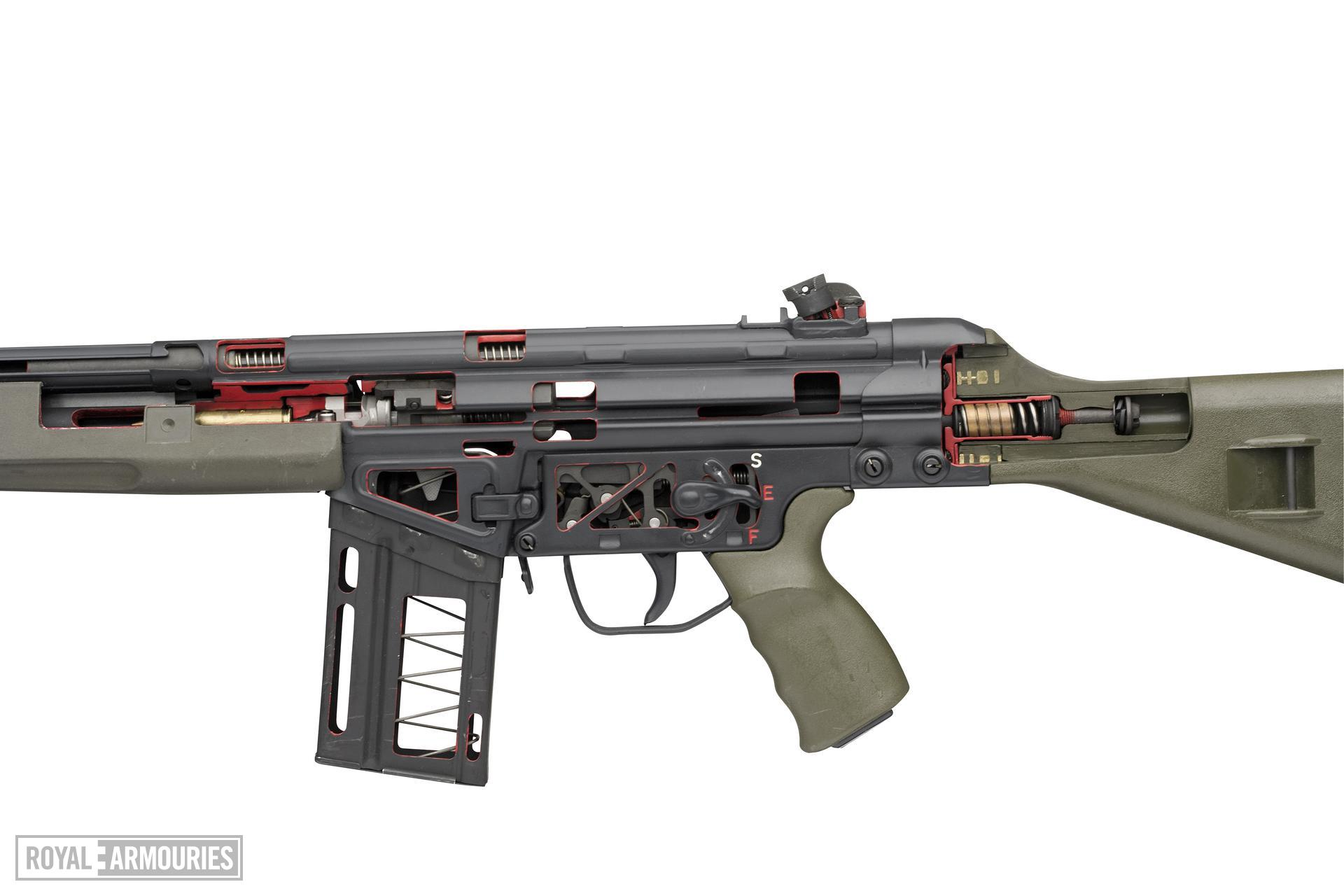 Centrefire automatic sectioned rifle - Heckler and Koch G3 Skeleton Instructional model