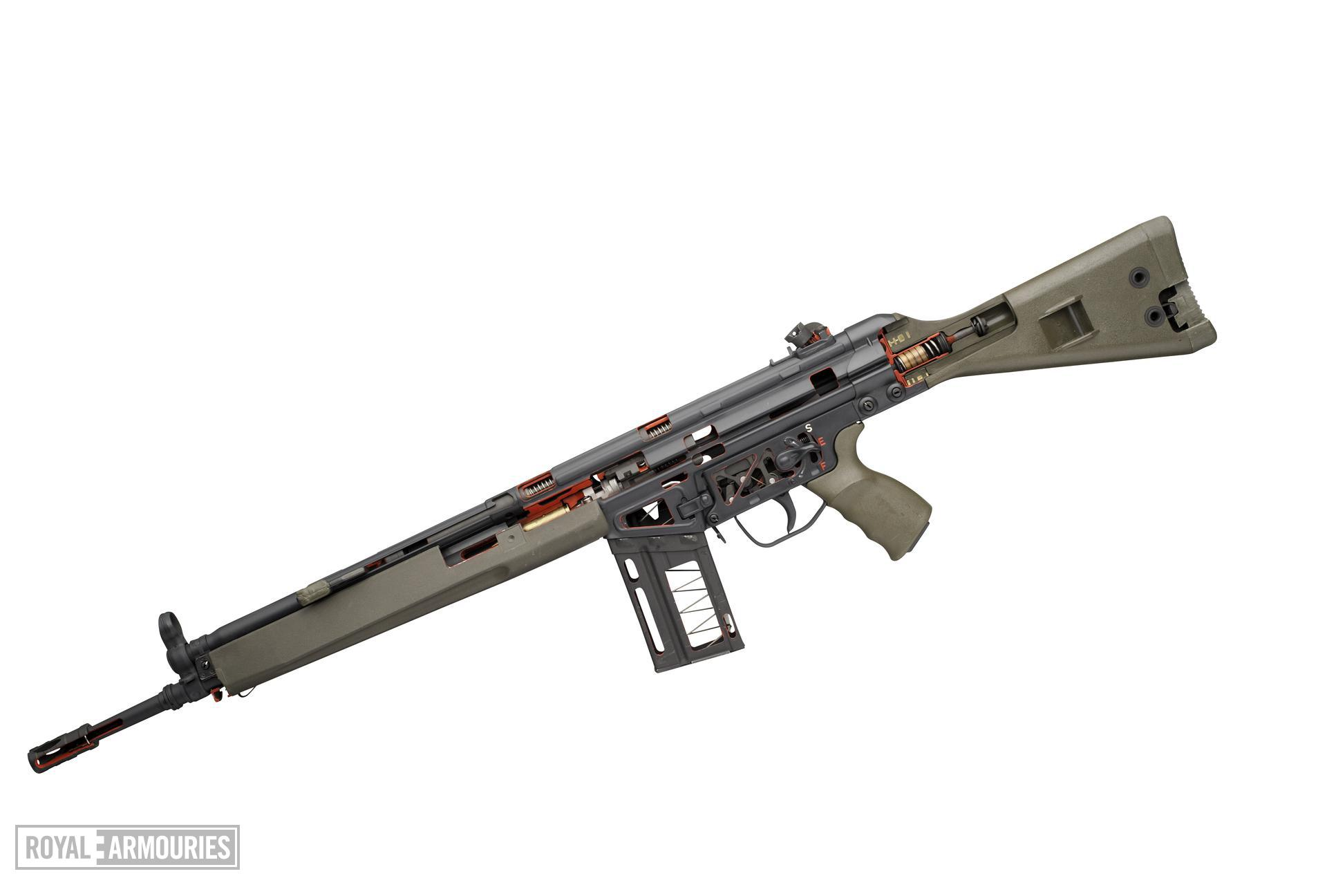 Centrefire automatic sectioned rifle - Heckler and Koch G3 Skeleton