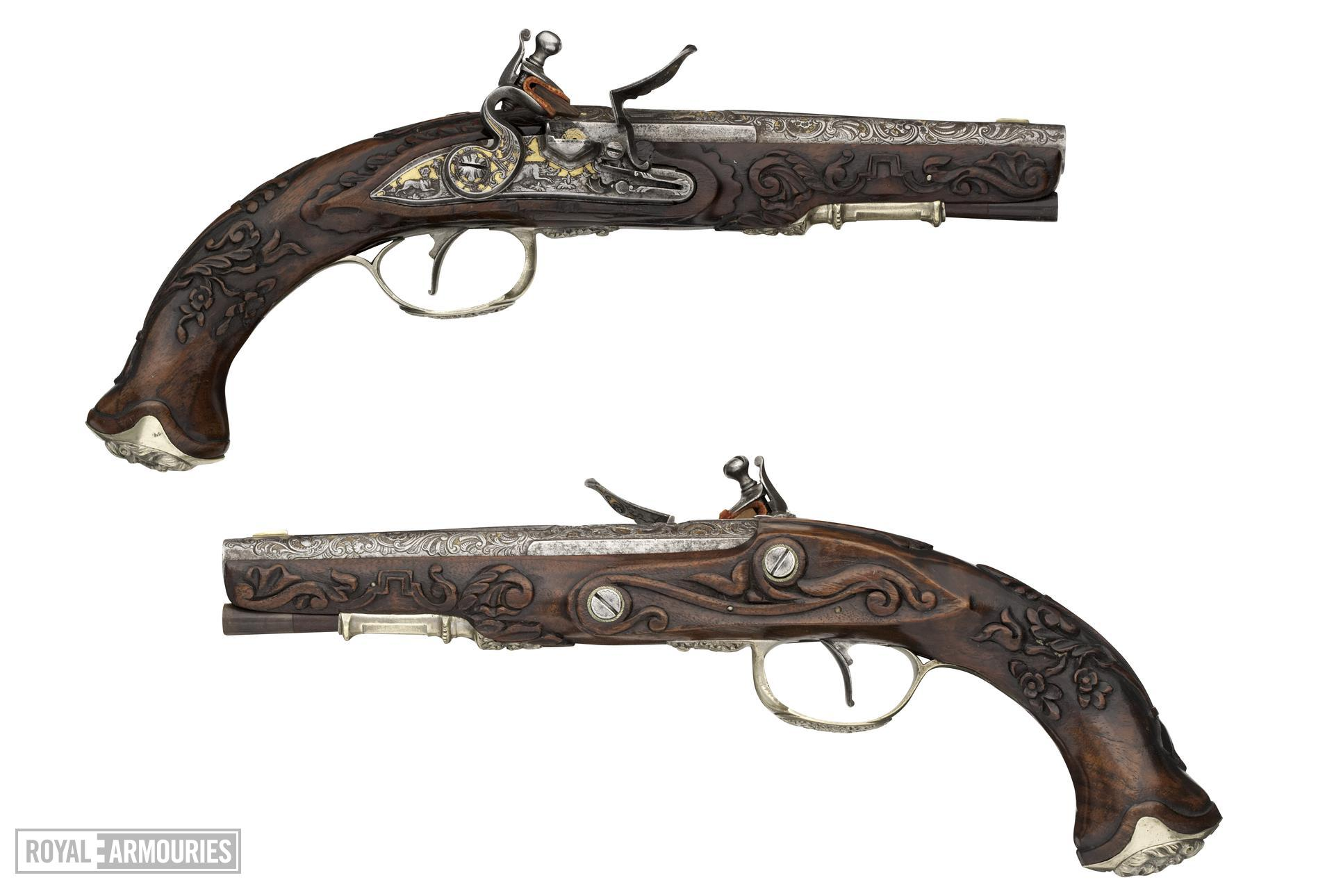 Flintlock pistol By Joh. Jac. Kuchenruter One of a pair; see XII.1309 Stocks and mounts about 1810-1820.