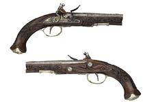Thumbnail image of Flintlock pistol By Joh. Jac. Kuchenruter One of a pair; see XII.1309 Stocks and mounts about 1810-1820.