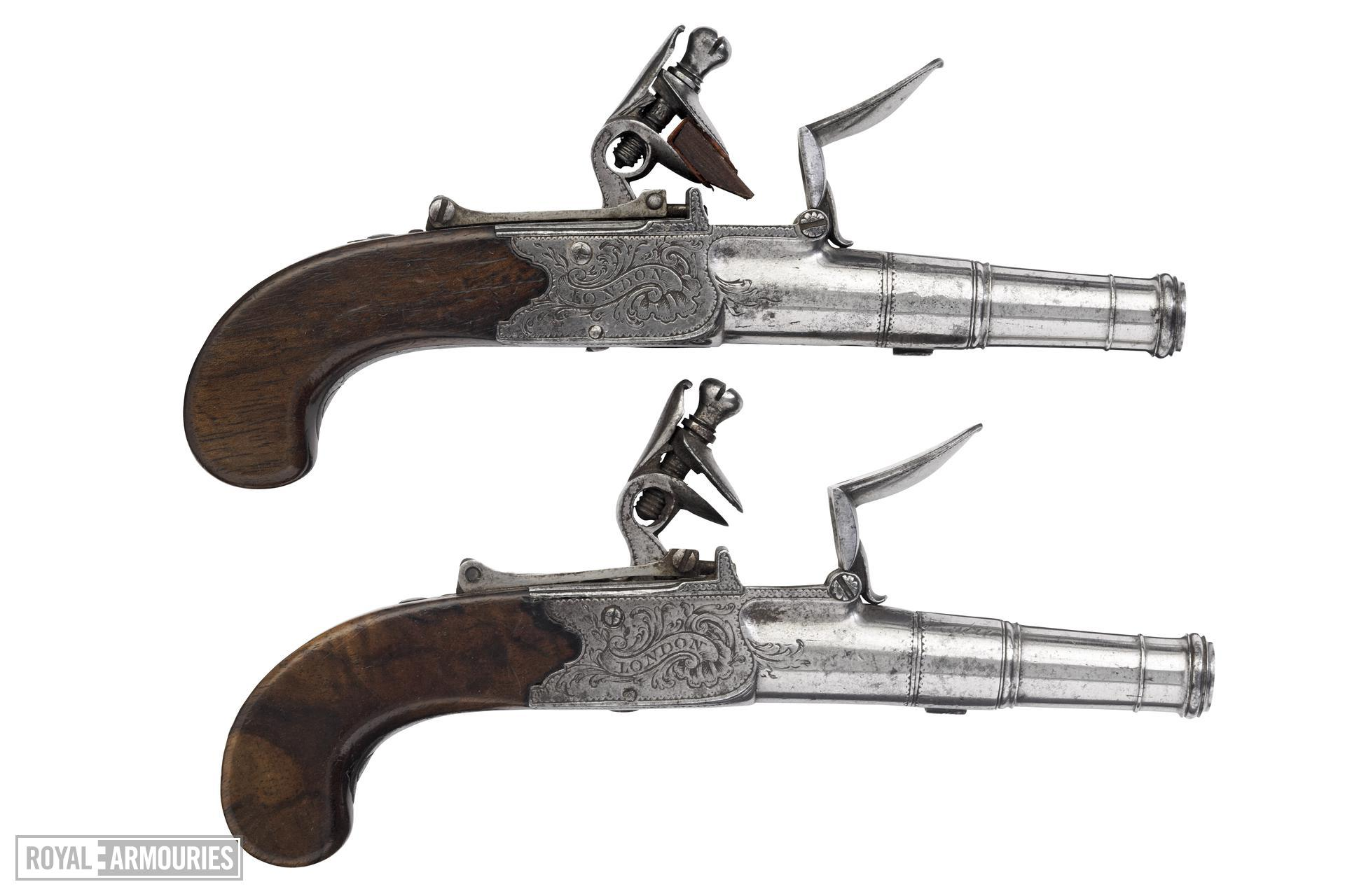 Flintlock pocket pistol By Jover One of a pair; see XII.1669