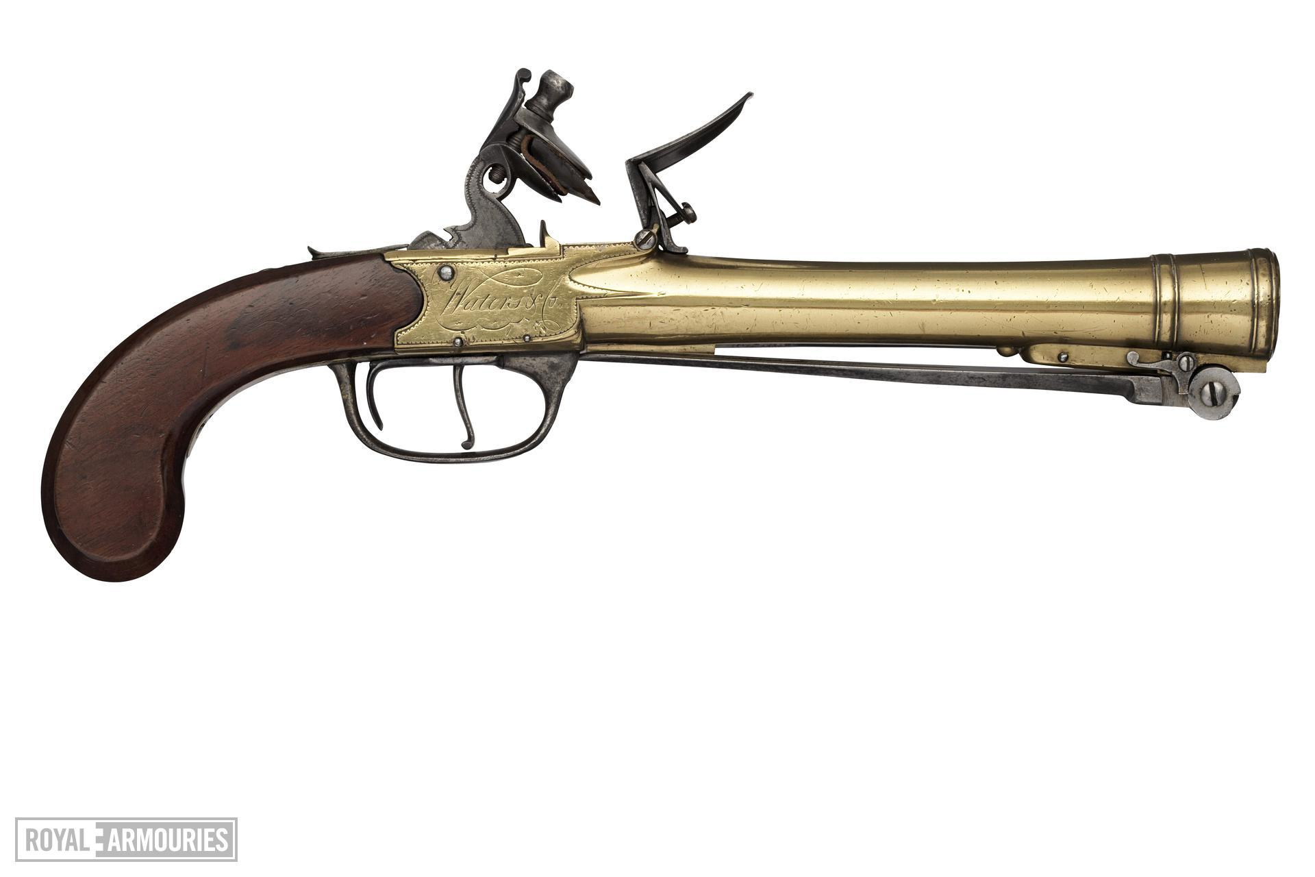 Flintlock blunderbuss pistol By Waters & Co