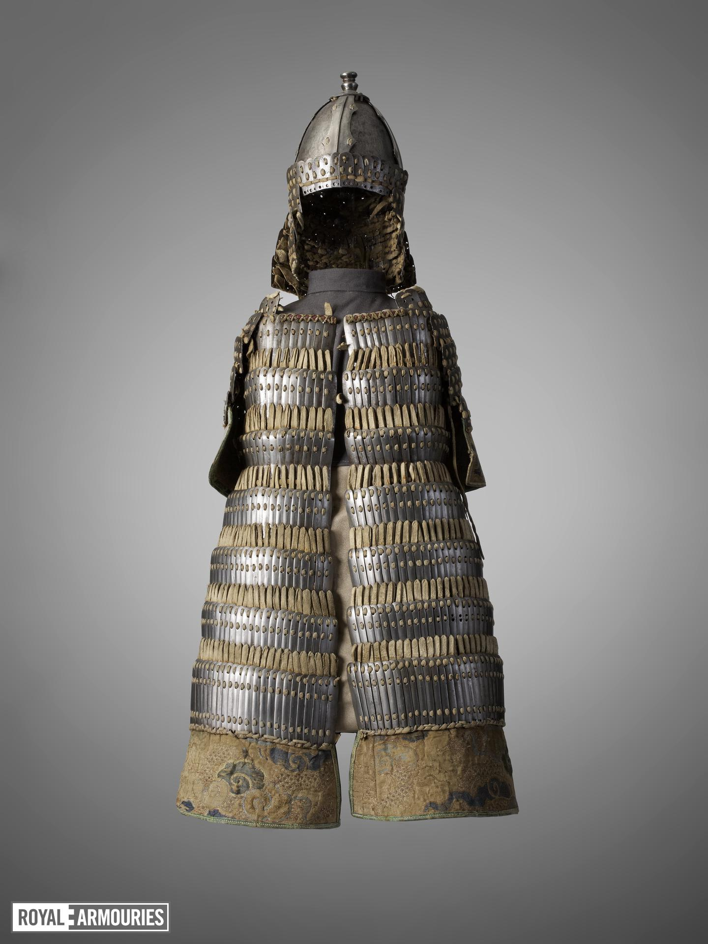 Model armour Model suit of lamellar armour including a coat and helmet, Tibet, 18th century