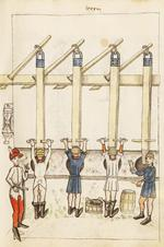 Thumbnail image of [Feuerwerkbuch] Firework book showing the manufacture and use of gunpowder, first quarter of the 15th centuryPlate 87r. : The Master Gunner supervising the pounding of the powder. An hourglass regulates the length of time taken for the operation, FEUR 1