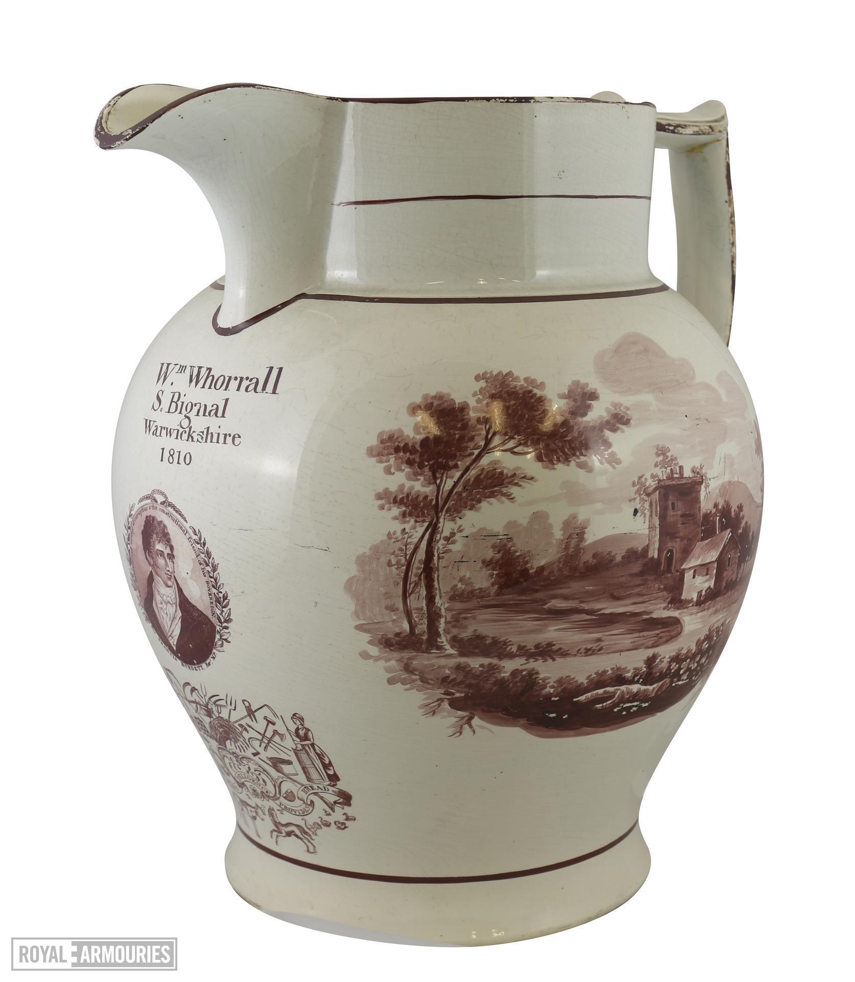 Staffordshire commemorative jug - Sir Francis Burdett