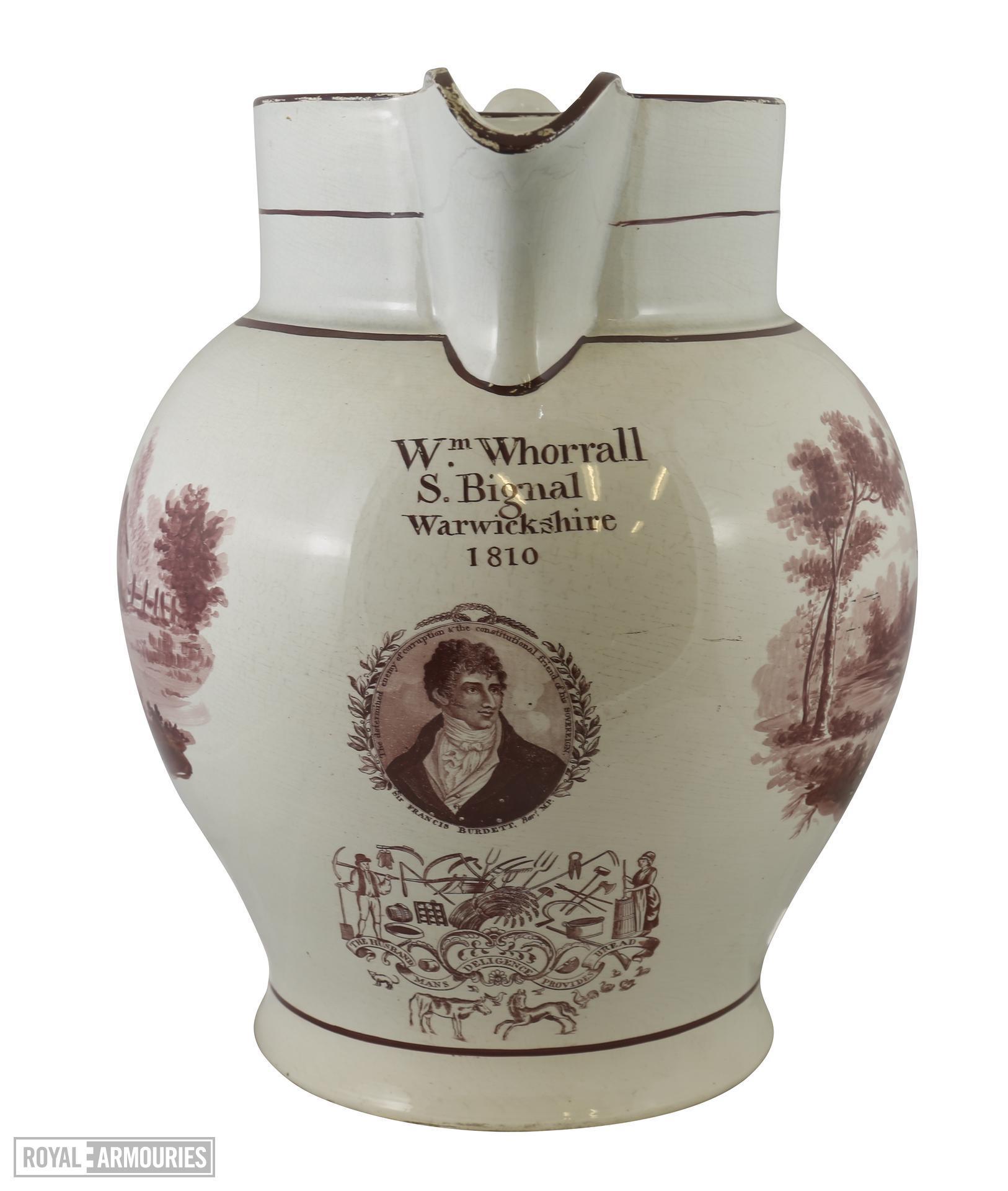 Staffordshire commemorative jug, Sir Francis Burdett. XVIII.832