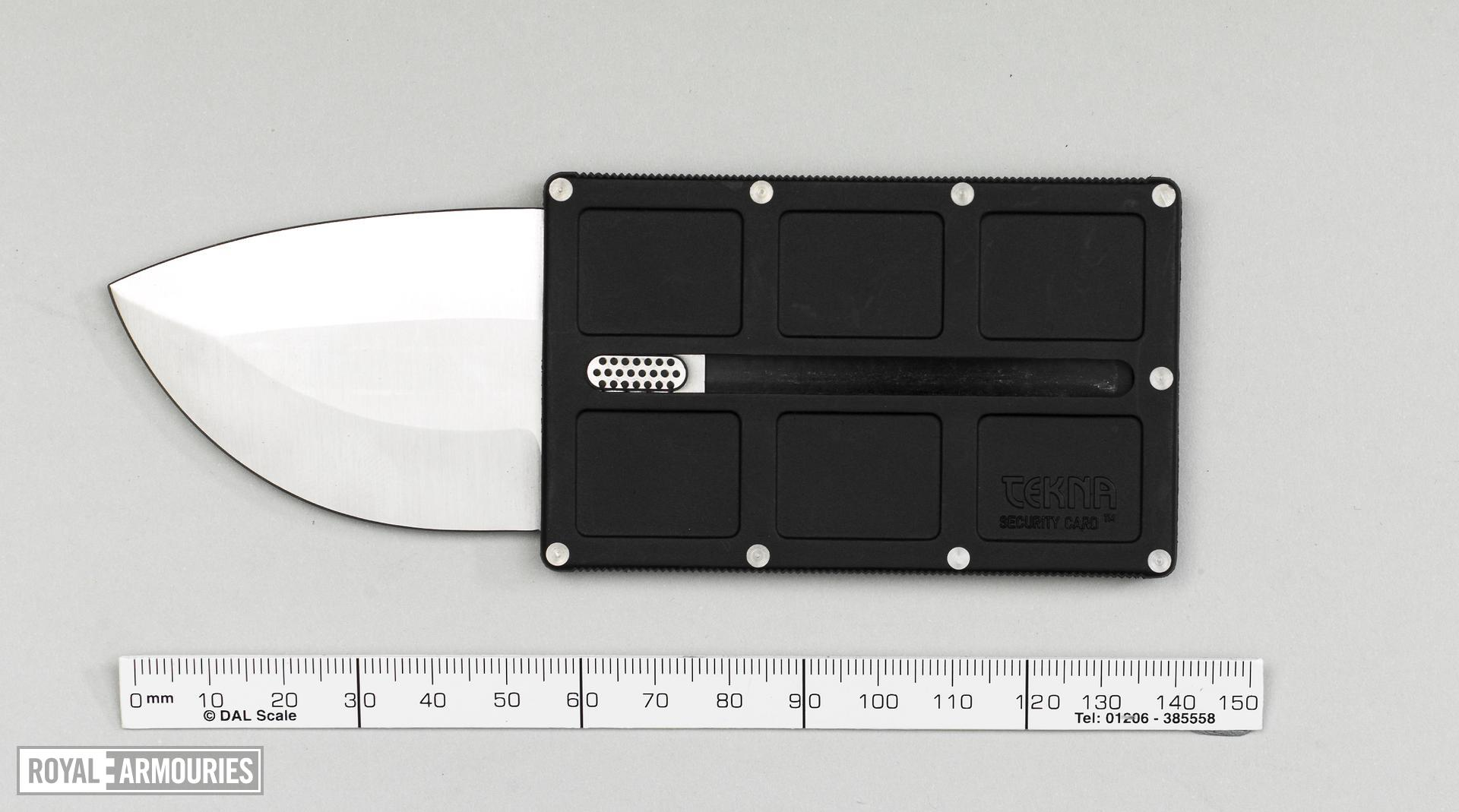 Knife Credit card knife. The Tekna Security Card.