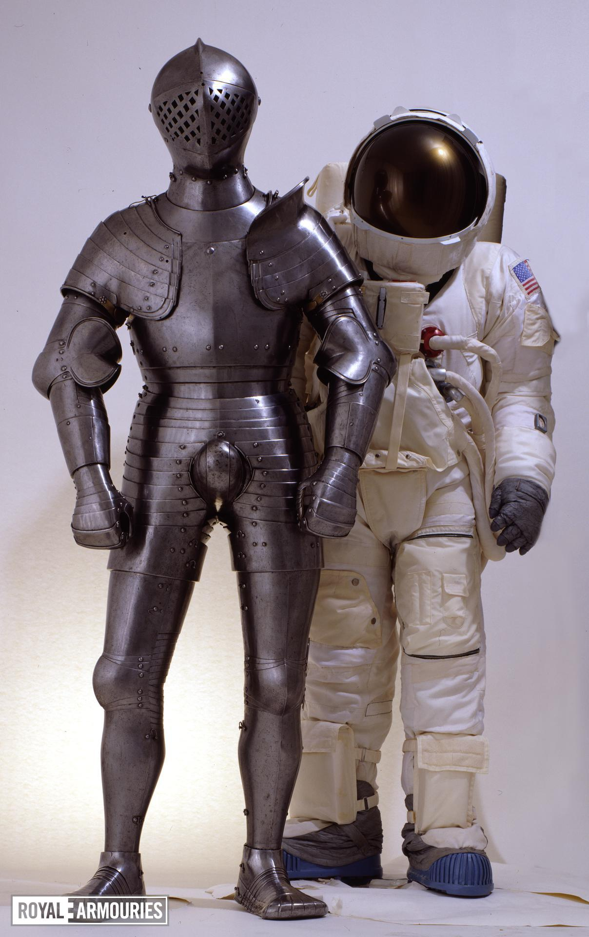 NASA spacesuit with the foot combat armour of Henry VIII (II.6)