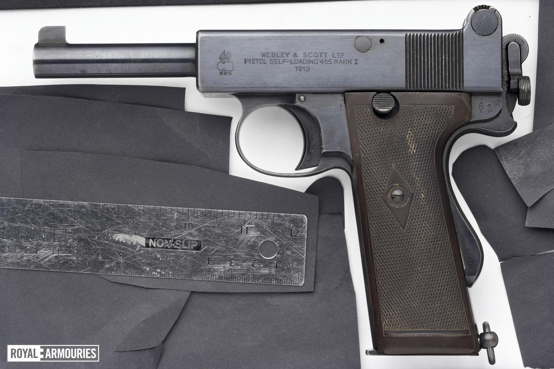 Centrefire self-loading pistol - Webley and Scott Mk.I