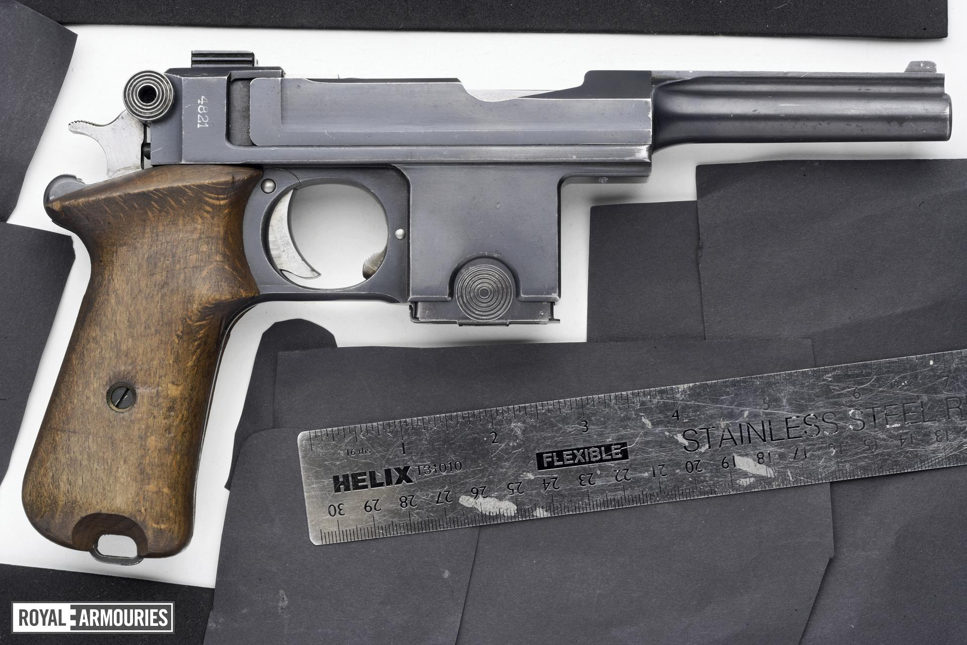 Centrefire self-loading pistol - Bergmann Bayard Model 1910/21 Converted from 1911-1914 Danish contract Model 1910, produced at SAAEP Herstal Belgium to a Model 1910/21 at the Danish Royal Armoury.