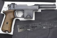 Thumbnail image of Centrefire self-loading pistol - Bergmann Bayard Model 1910/21 Converted from 1911-1914 Danish contract Model 1910, produced at SAAEP Herstal Belgium to a Model 1910/21 at the Danish Royal Armoury.