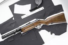 Thumbnail image of Bergmann (Schmeisser) MP18/I blowback operated submachine gun, manufactured by Theordor Bergmann Waffenfabrik, Germany