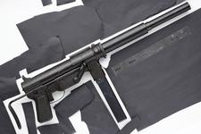 Thumbnail image of Centrefire automatic silenced submachine gun - M3 (Suppressed) Centrefire sub-machine gun, M3 fitted with OSS issue suppressor