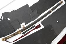 Thumbnail image of Sword (katana) by Kunitsugu, (Sword of General Murai), with army mount.