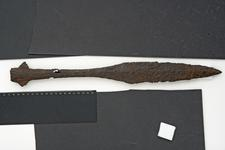 Thumbnail image of Spear head Lugged or winged spear head, of a type used for war and hunting.