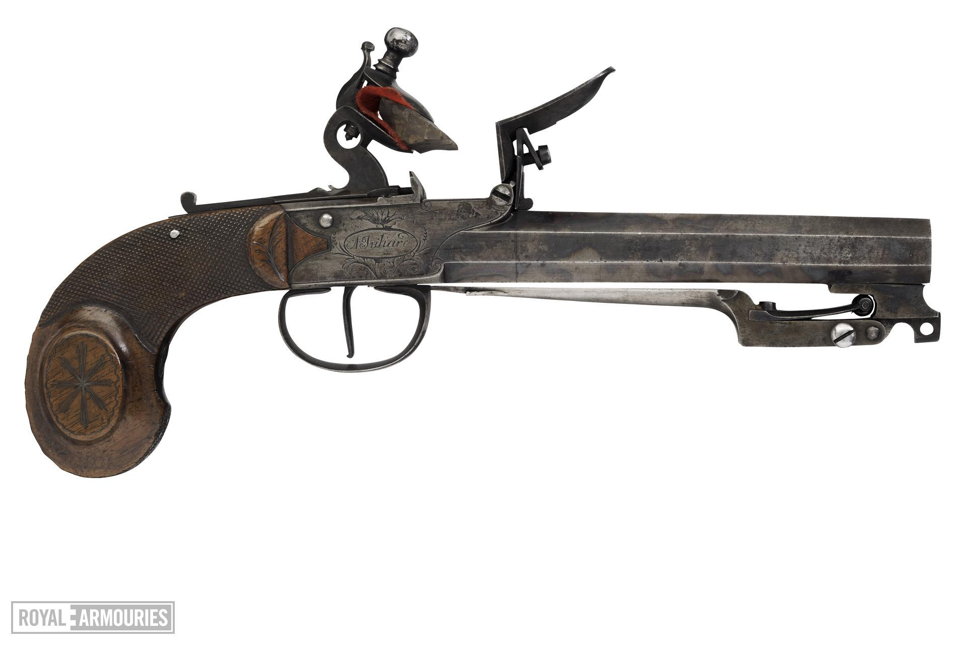 Flintlock pistol By A. Juliard One of a pair see XII.1110