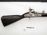 Thumbnail image of Flintlock and matcklock muzzle-loading combination musket - Probably by George Fisher the Elder Fitted with Vauban [?] lock
