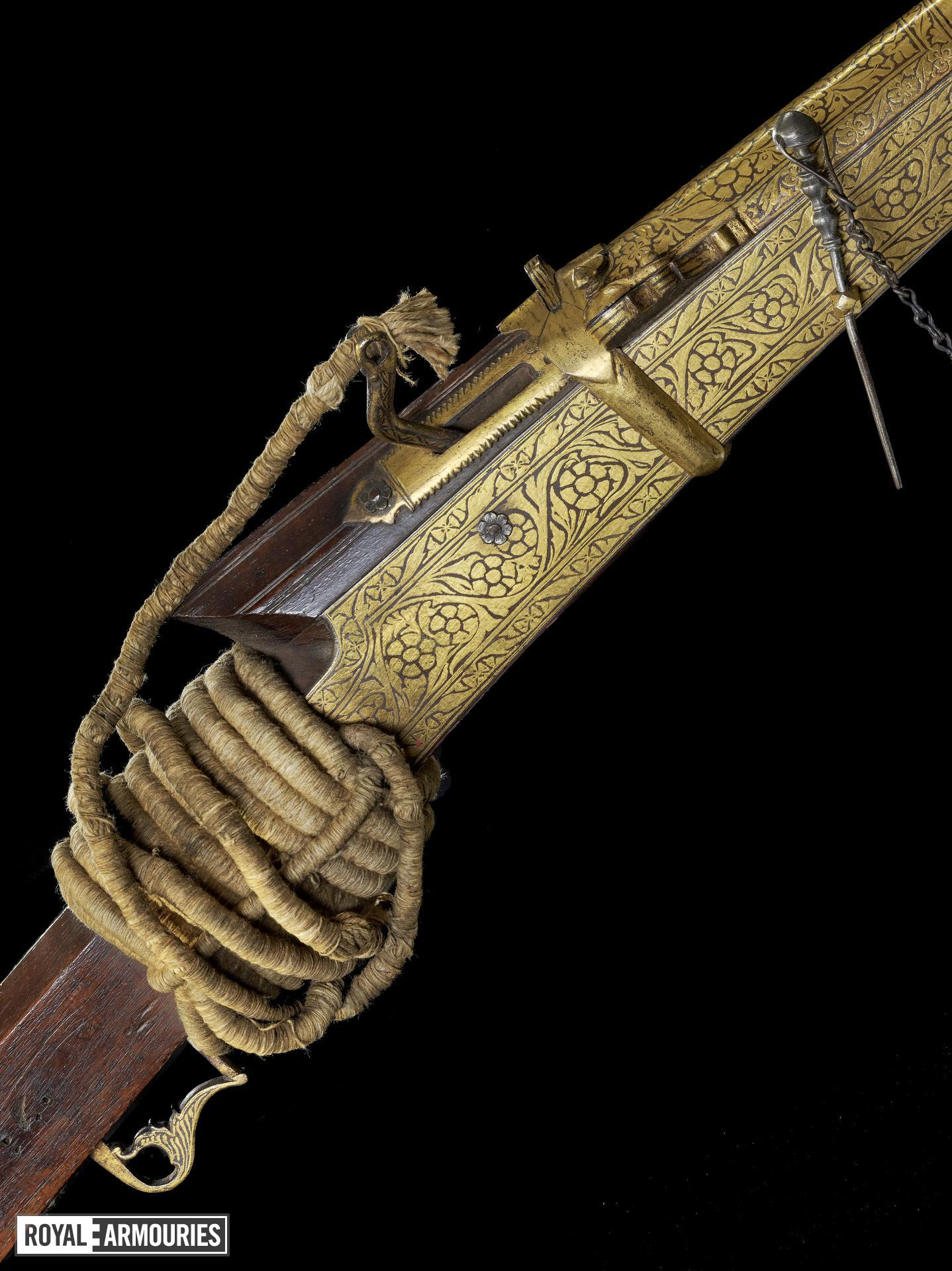Matchlock musket (toradar) with gilded side plates.