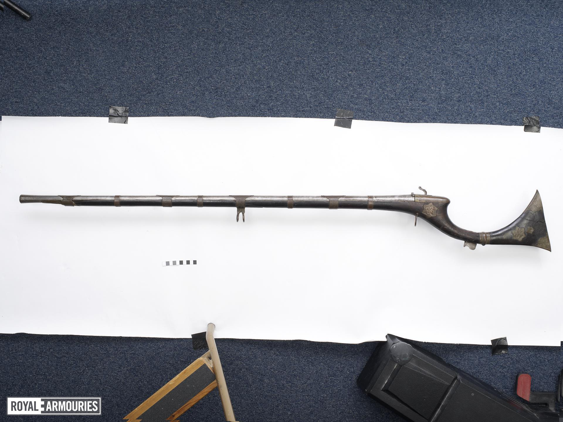 Matchlock musket (toradar) with copper decoration.