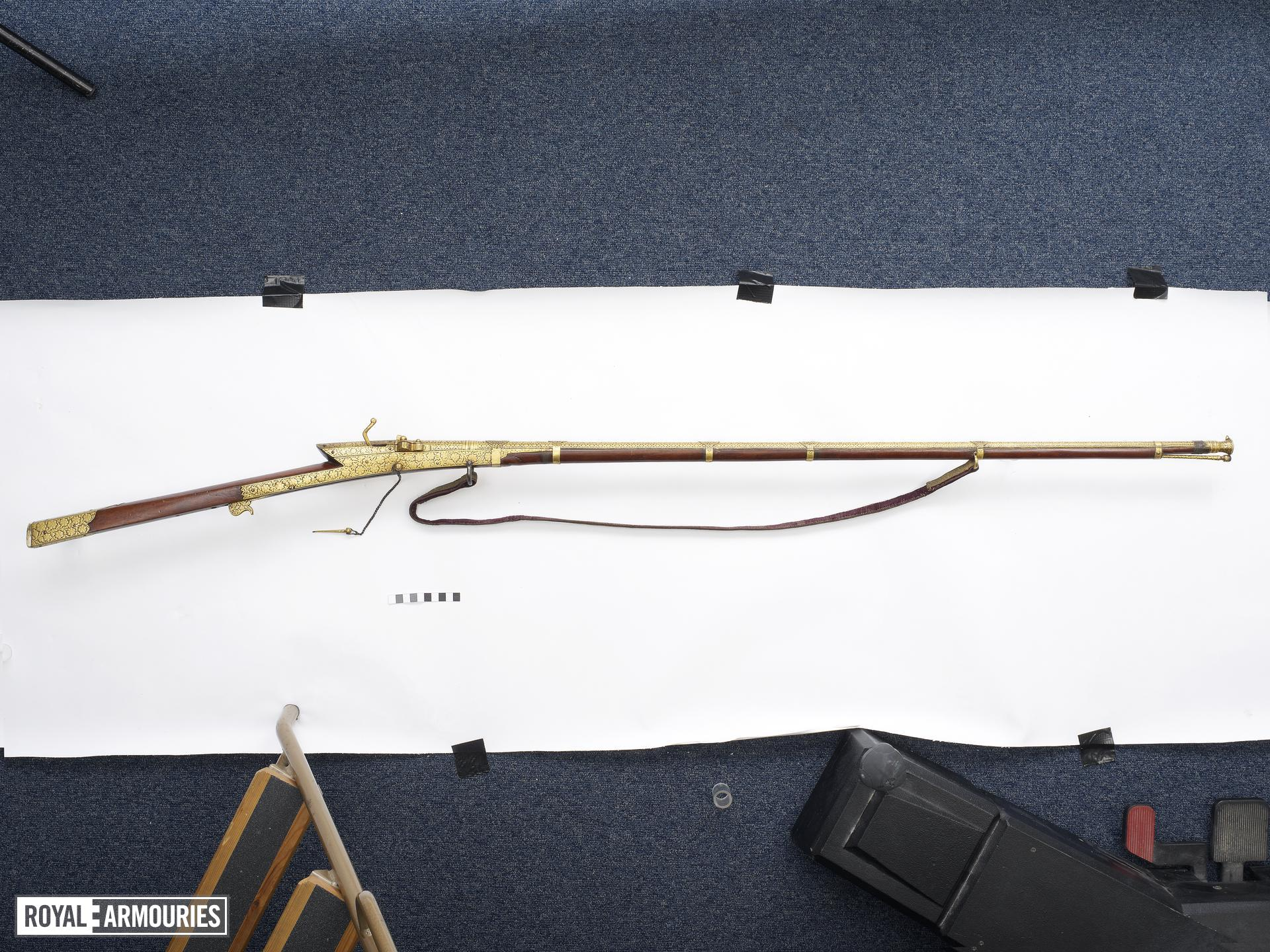 Matchlock musket (toradar) Covered in gold koftgari.