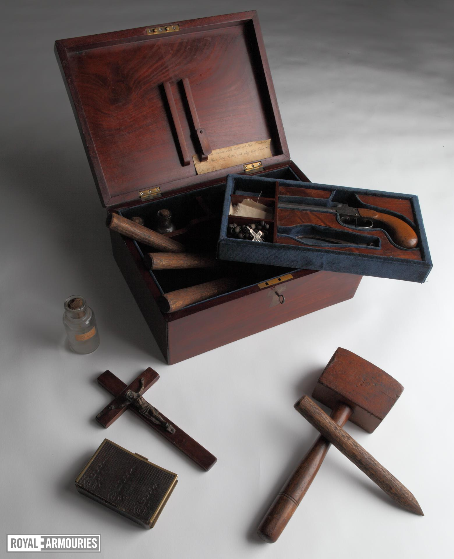Cased set - Vampire killing kit Cased set, vampire killing kit, about 1970.