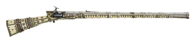 Thumbnail image of Miquelet lock rifle (cakmakli tufek) Ivory-mounted miquelet-lock rifle, Turkish, 18th century