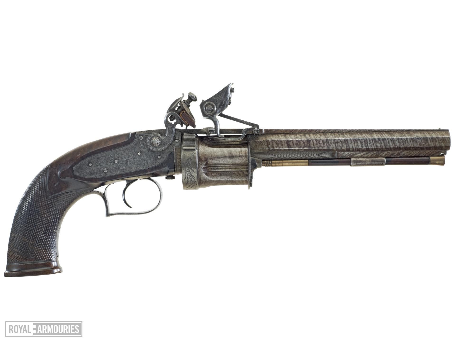 Flintlock six-shot revolver - Collier Patent