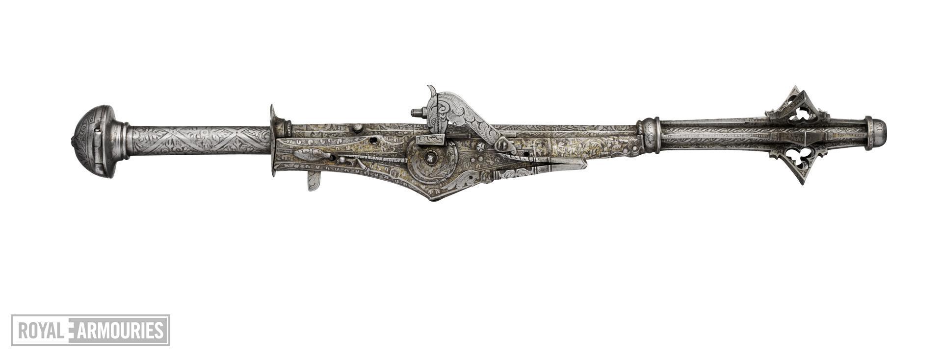 Wheellock combination mace and pistol