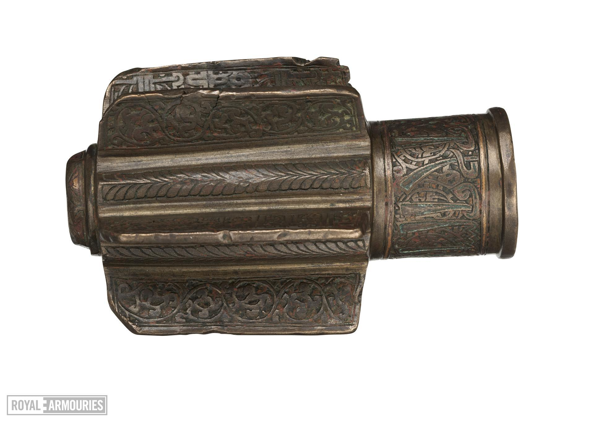 Mace Head cast hollow bronze body with six radial fins.
