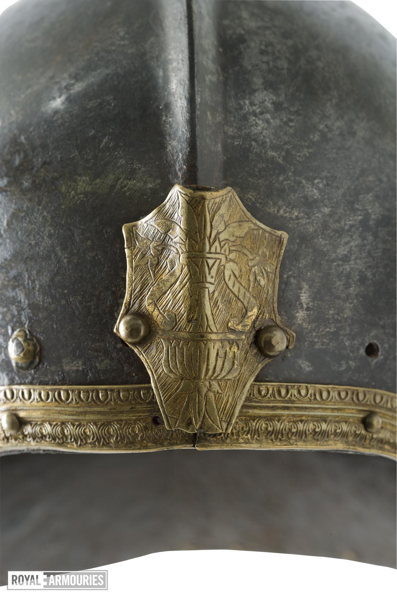 Sallet Open face sallet with applied gilt copper-alloy border. Attributed to Domenico dei Barini detto Negroli