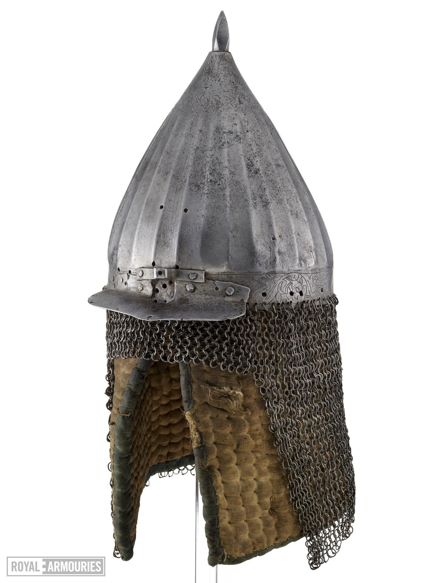 Helmet (chichak) modified for use in the Sudan