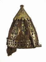 Thumbnail image of Helmet of velvet covered rawhide