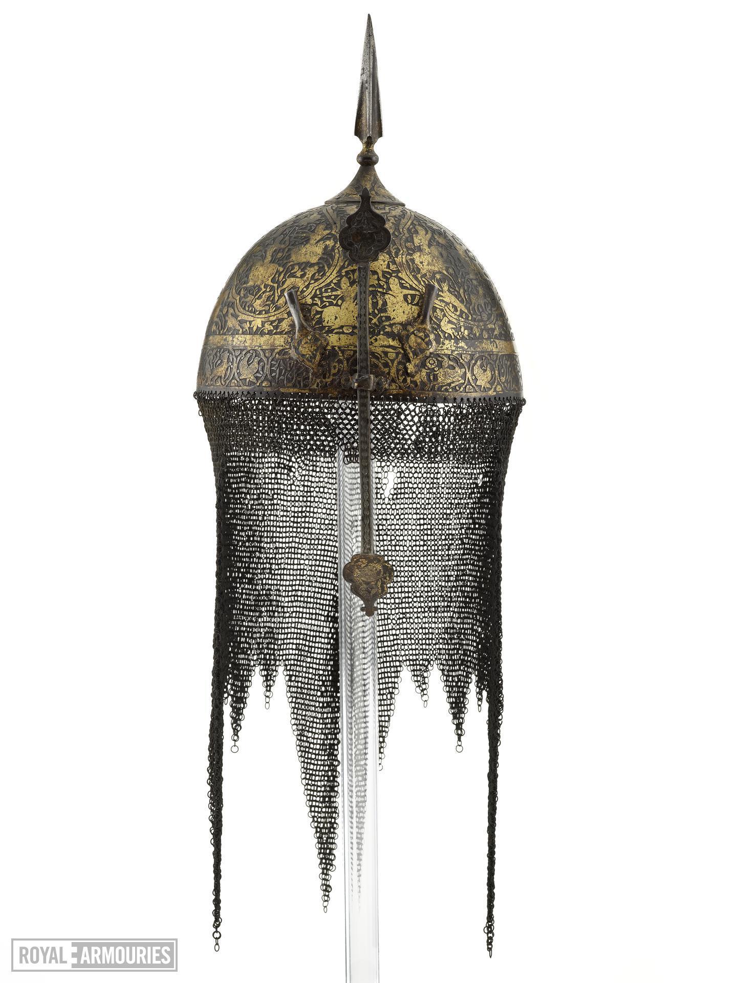 Helmet (kolah khud) chiselled with horsemen and gilded.