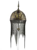 Thumbnail image of Helmet (kolah khud) chiselled with horsemen and gilded.