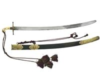Thumbnail image of Sword (shamshir) - Shamshir Curved single-edged fullered blade with gilded copper hilt and red sword knot.