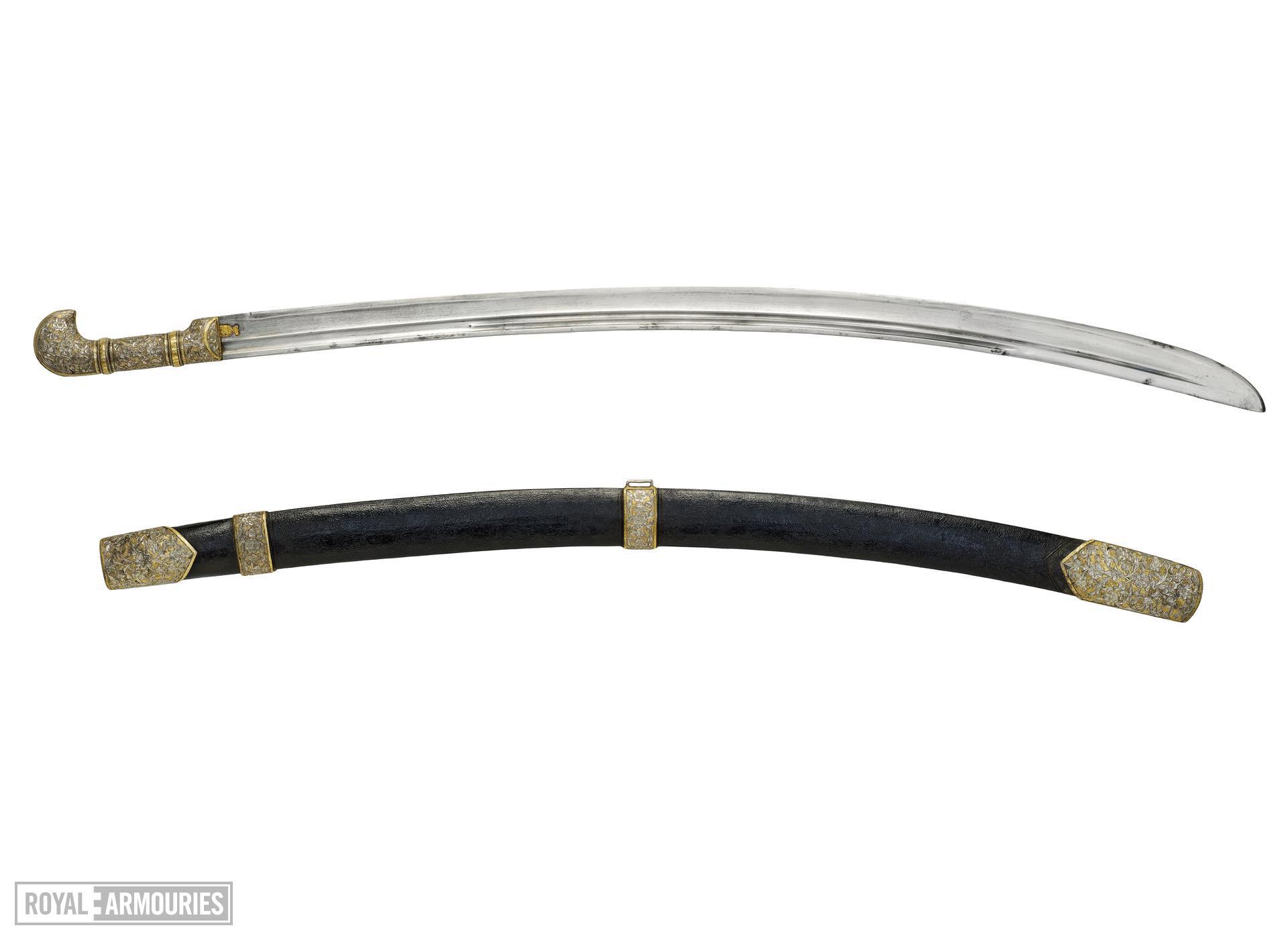 Sword (shashka) and scabbard Shashka and scabbard with silver mounts