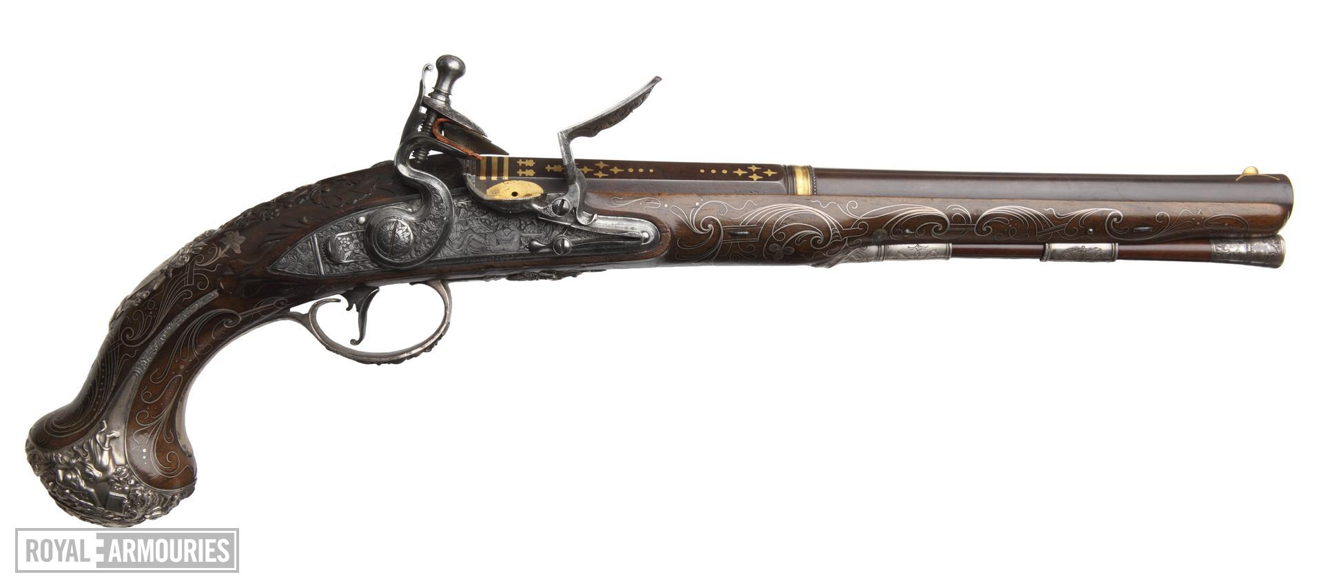 Flintlock holster pistol By H. Hadley One of a pair; see XII.1645 Probably made for Charles, 3rd Duke of Marlborough 1706-1758, or for George, fourth Duke of Marlborough