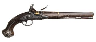 Thumbnail image of Flintlock holster pistol By H. Hadley One of a pair; see XII.1645 Probably made for Charles, 3rd Duke of Marlborough 1706-1758, or for George, fourth Duke of Marlborough
