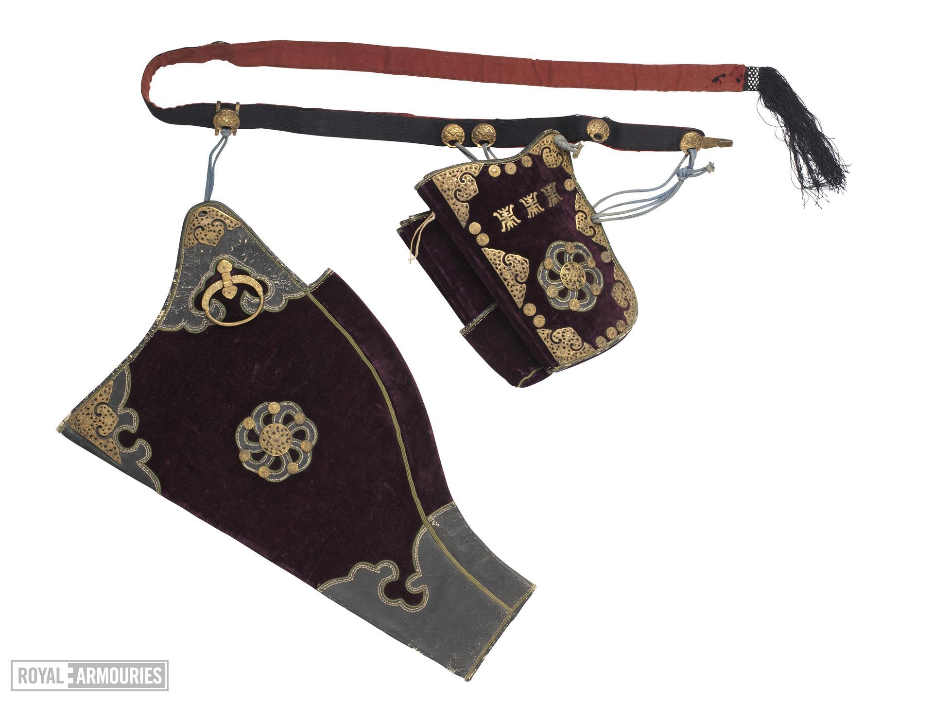 Bowcase and quiver (gongdai and jiantong) of purple velvet