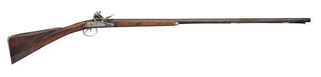 Thumbnail image of Flintlock double-barrelled shotgun - By Hadley Double side-by-side barrels with hook breeches, the blued finish partly restored.