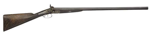 Thumbnail image of Pinfire breech-loading double-barrelled shotgun - By Samual and C. Smith Hammer gun