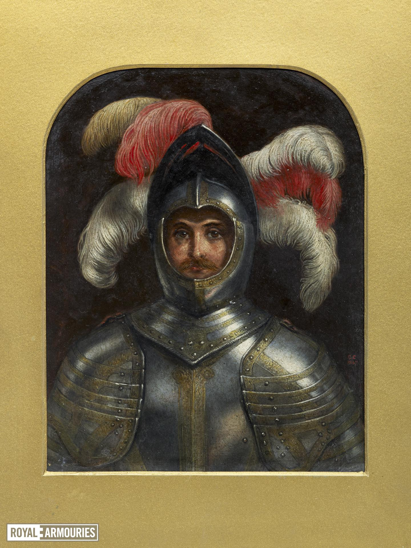 Painting Oil painting, self portrait with armour by Charles Compton (1828-1884)